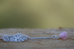 Long necklace with pink bead Ag 925/1000